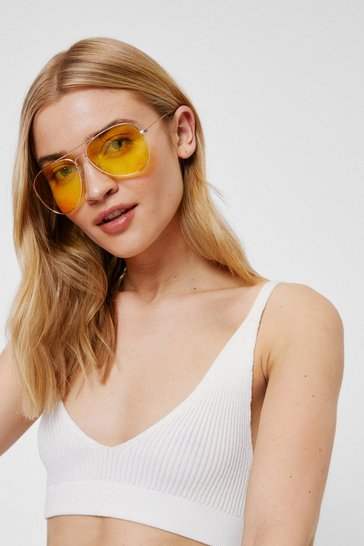 Yellow Lense Aviator Sunglasses