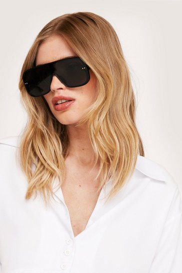 Black Retro Aviator Sunglasses
