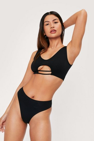 Black Seamless Ribbed Cut Out Bralette and Panty Set