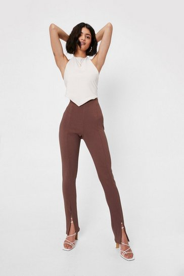 Chocolate Split Hem High Waisted Flare Pants