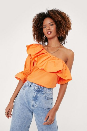 Coral Ruffle Detail One Shoulder Blouse