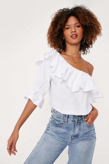 White Ruffle Detail One Shoulder Blouse