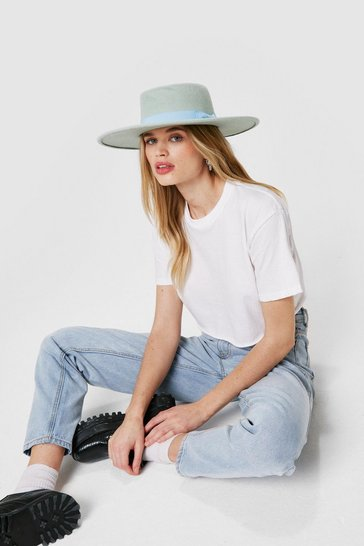 Mint Felt Wide Brim Fedora Hat