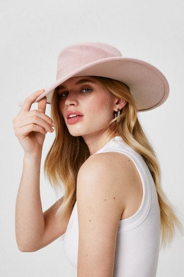 Peach Felt Wide Brim Fedora Hat
