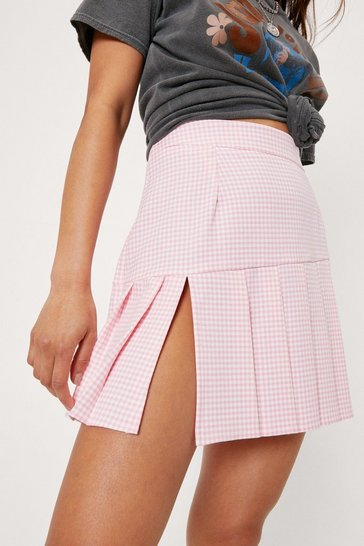 Pink Petite Check Print Pleated Mini Skirt
