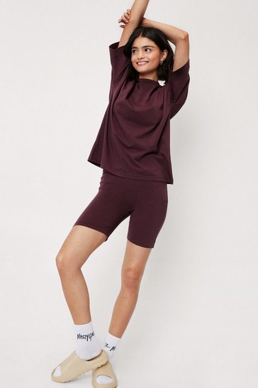 Chocolate Crew Neck T-Shirt and Longline Biker Shorts