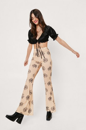 Light beige Ribbed Floral Print High Waisted Flare Pants