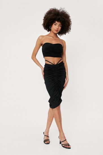 Black Strappy Ruched Cut Out Midi Skirt