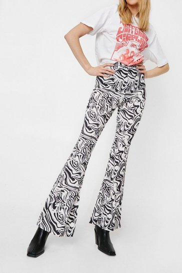 Mono Abstract Print High Waisted Flare Pants