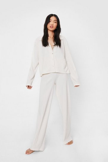 Cream Brushed Ribbed Shirt and Pants Lounge Set