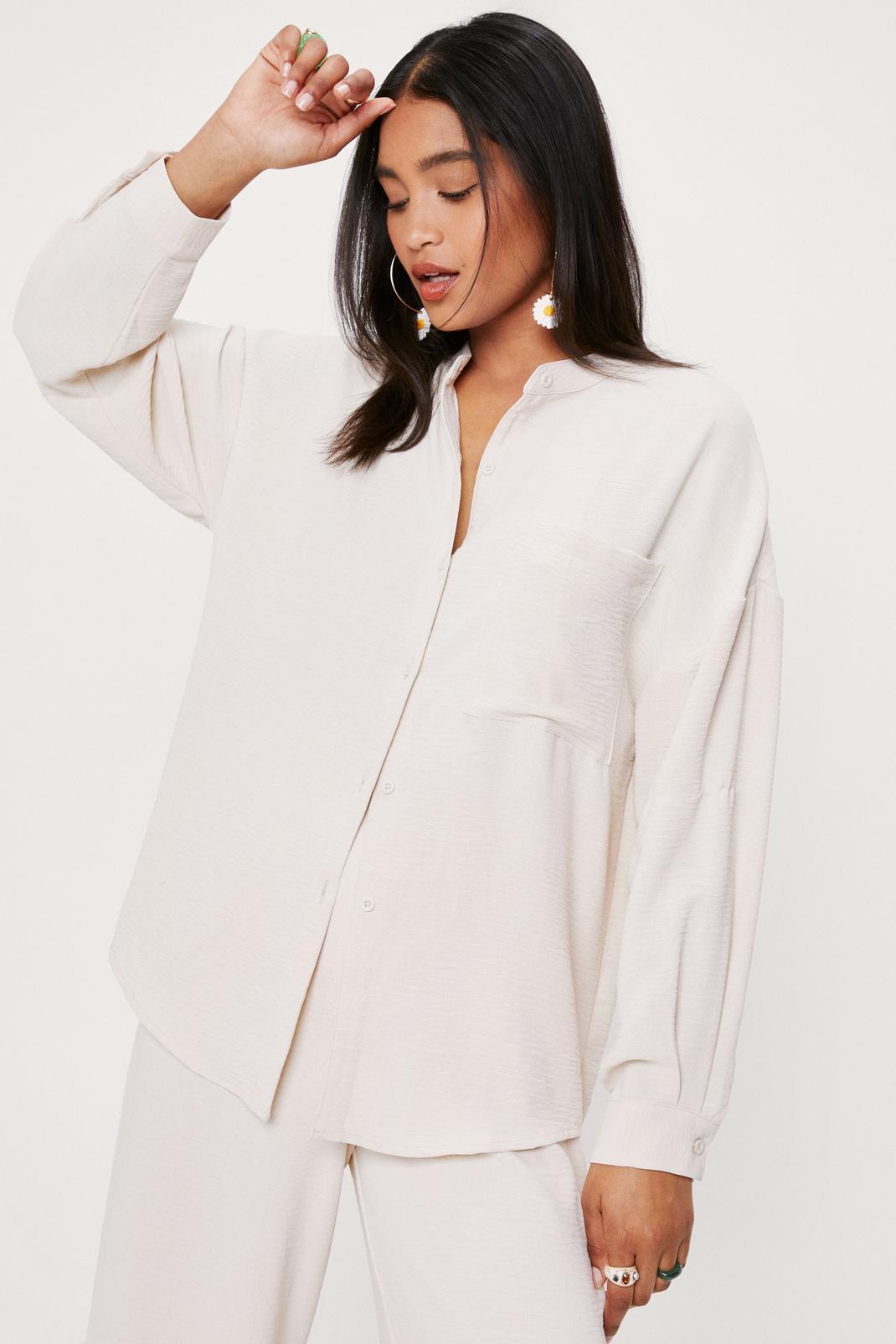 Oversized Pocket Detail Button Down Shirt   NastyGal