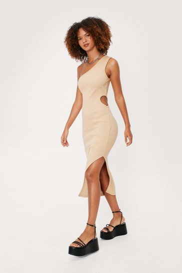 Almond Ribbed One Shoulder Cut Out Midi Dress