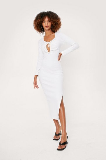 Ecru Ruched Cut Out Bodycon Midi Dress