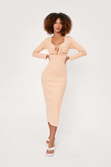 Peach Ruched Cut Out Bodycon Midi Dress
