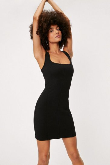 Black Ribbed Seam Detail Bodycon Mini Dress