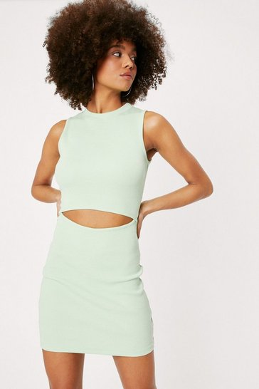 Pistachio Ribbed Crew Neck Cut Out Mini Dress