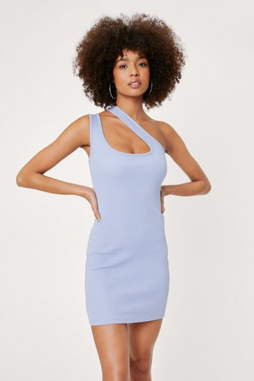 Bluebell Asymmetric One Shoulder Ribbed Mini Dress