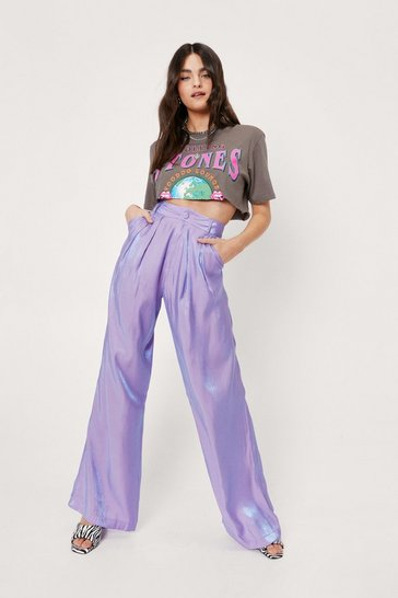 Lilac Shimmer High Waisted Pleated Wide Leg Pants