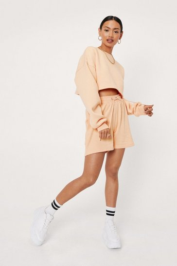 Apricot Petite Drawstring Longline Sweat Shorts
