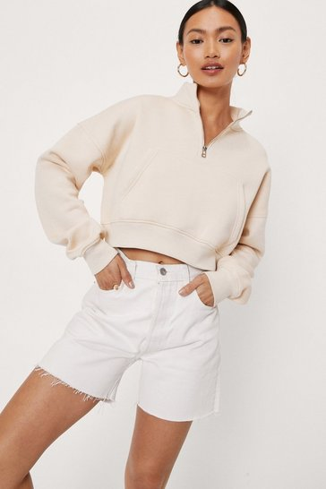 Sand Petite Funnel Neck Zip Cropped Sweatshirt