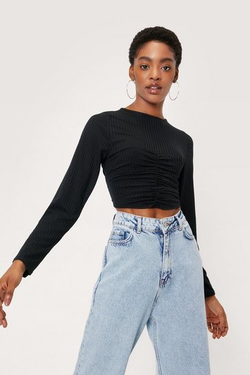 Black Ruched Crew Neck Long Sleeve Crop Top