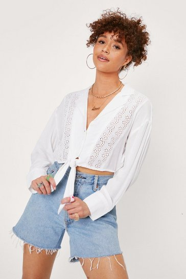 White Broderie Anglaise Tie Front Cropped Shirt