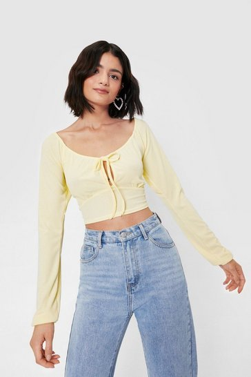 Lemon Tie Cropped Long Sleeve Top