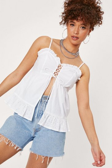 White Lace Up Open Front Cami Top