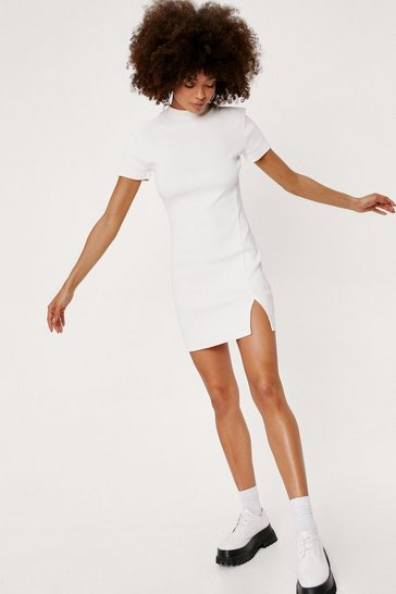 Ecru Ribbed Short Sleeve Bodycon Mini Dress