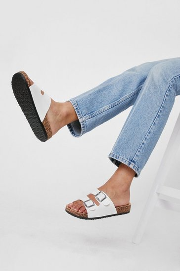 White Faux Leather Double Buckle Footbed Sandals