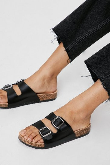Black Faux Leather Double Buckle Foot Bed Sandals