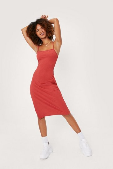 Rust Square Neck Split Hem Midi Dress