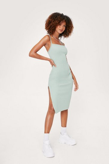 Sage Square Neck Split Hem Midi Dress