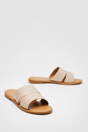 Nude Faux Leather Cut Out Flat Mule Sandals