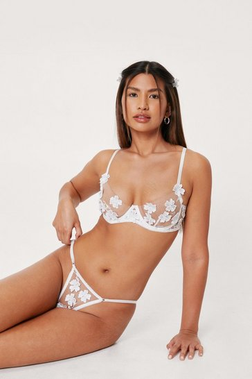 White Mesh Floral Embroidered Underwire Lingerie Set