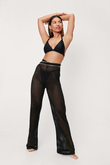 Black Crochet Wide Leg Cover Up Pants