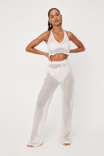 Cream Crochet Wide Leg Beach Cover Up Pants