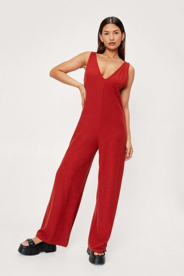 Rust Ribbed Oversized V Neck Jumpsuit