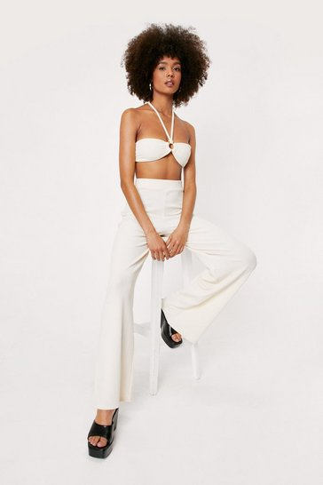 Ecru Ribbed O Ring Bandeau and Wide Leg Pants Set