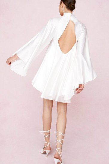 Ivory Open Back High Neck Satin Mini Dress