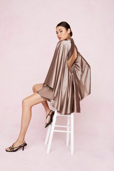 Taupe Open Back High Neck Satin Mini Dress