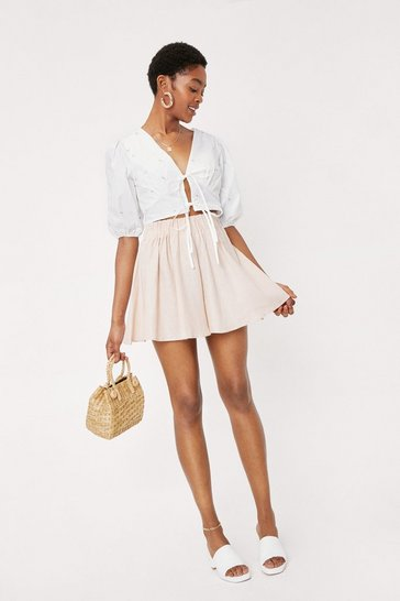 Linen High Waisted Relaxed Shorts, Light stone