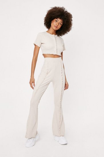 Stone Ruffle Crop Top and High Waisted Flare Pants Set