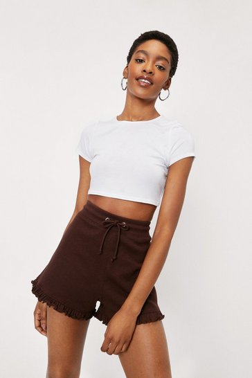 Chocolate Jersey High Waisted Ruffle Hem Shorts