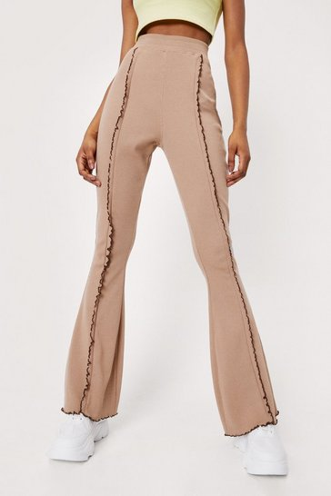 Taupe Seam Detail High Waisted Flare Pants