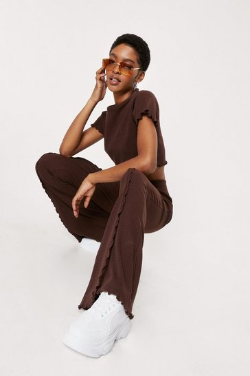 Chocolate Ruffle Cropped T-Shirt and Flare Pants Set