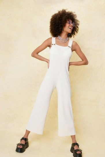 Ecru Ribbed Square Neck Culotte Jumpsuit