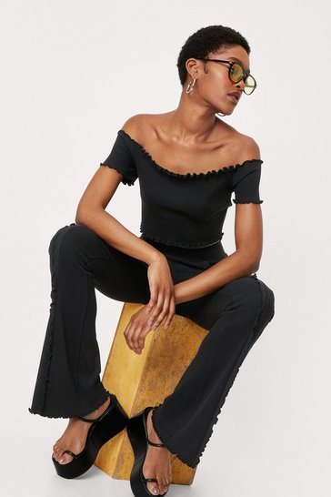 Black Ruffle Off the Shoulder Top and Trousers Set