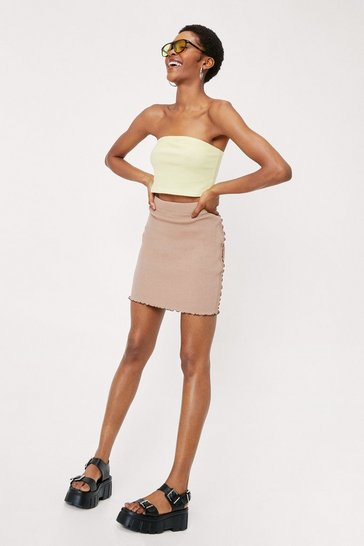 Taupe Ruffle Seam Detail High Waisted Mini Skirt