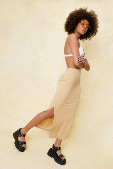 Beige Ribbed High Waisted Split Hem Midi Skirt